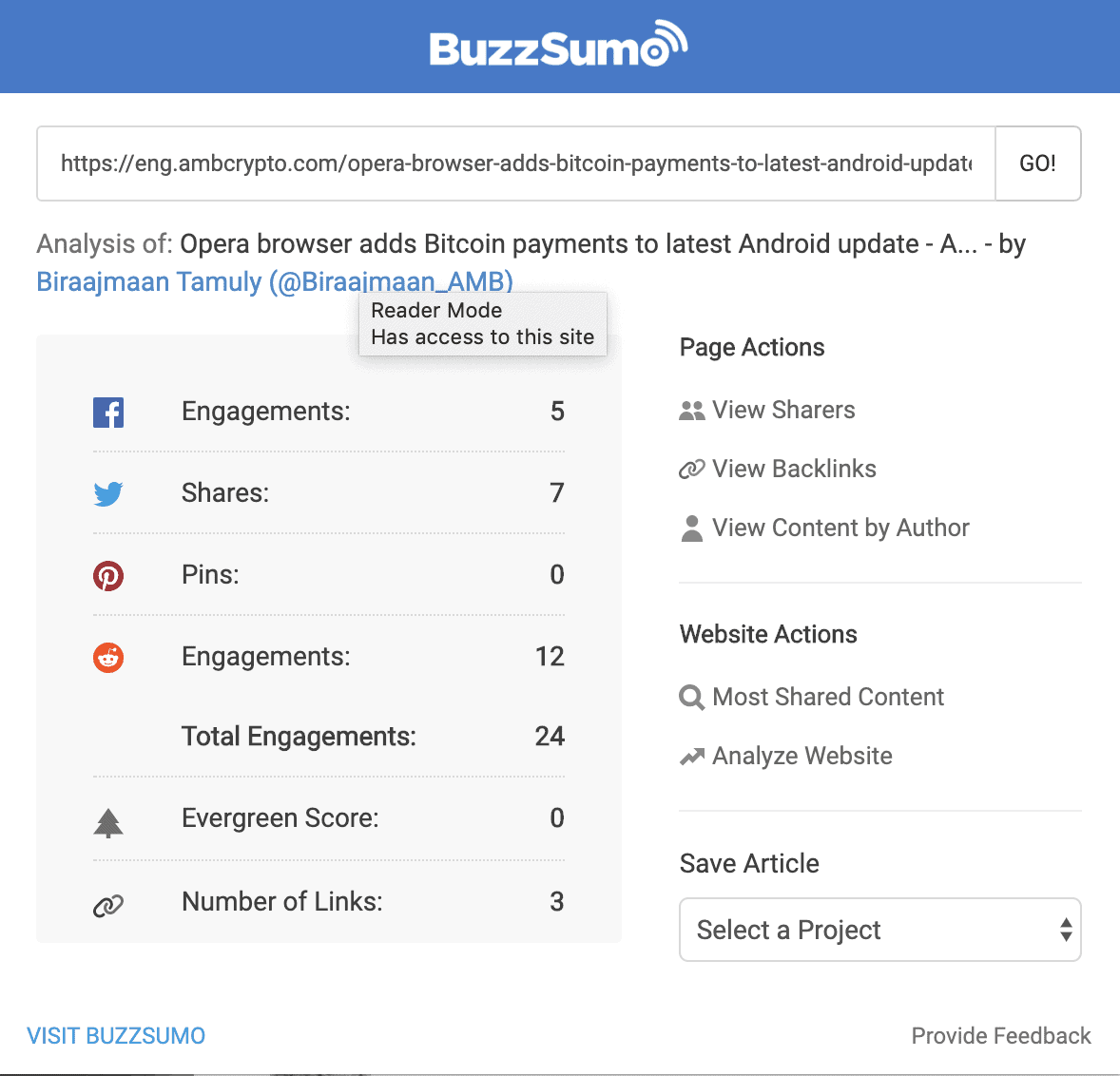 Buzzsumo example of post who didnt got promoted