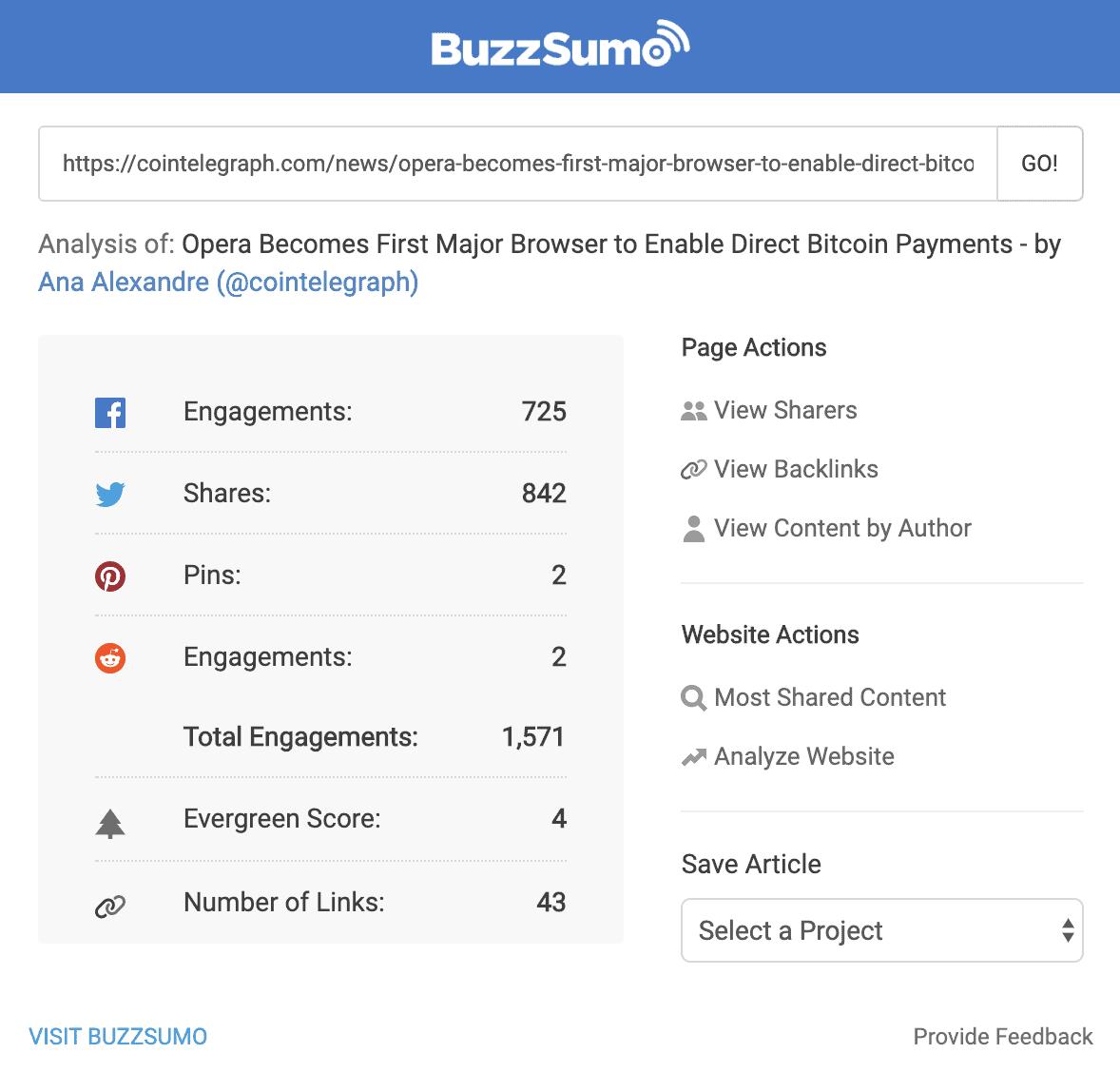 Buzzsumo Blockchain public relation engagement rate