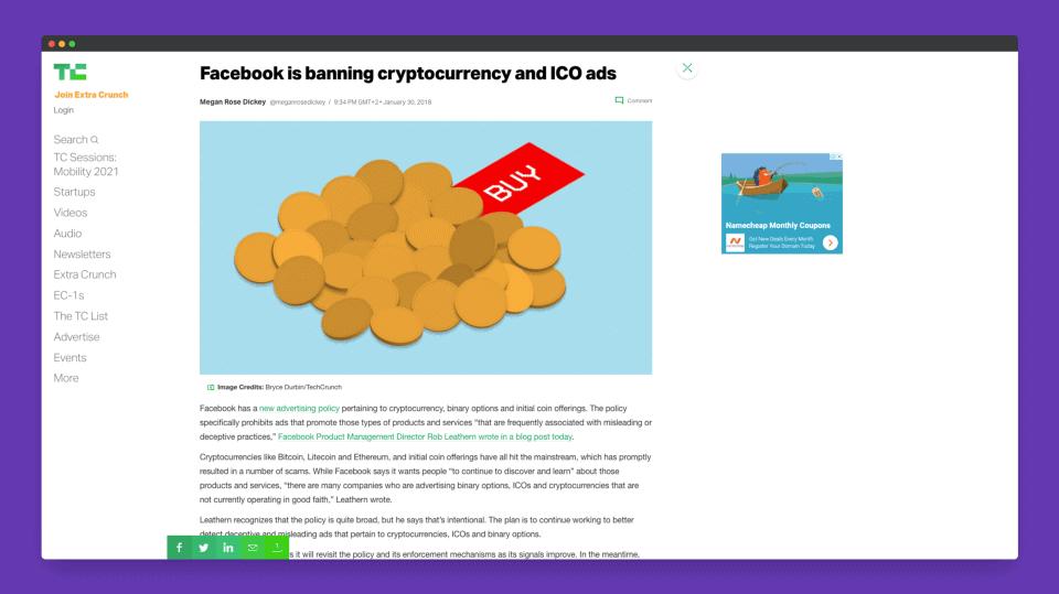 Facebook ban crypto ads techcrunch - GuerrillaBuzz