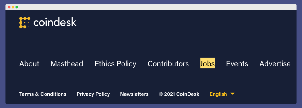 CoinDesk Jobs page for outreach when doing crypto link building - 'Jobs' is highligted