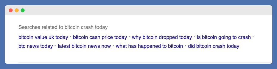 Further related searches for crypto keyword research at the bottom of the google page