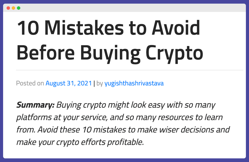 Listicle example for crypto guest posting